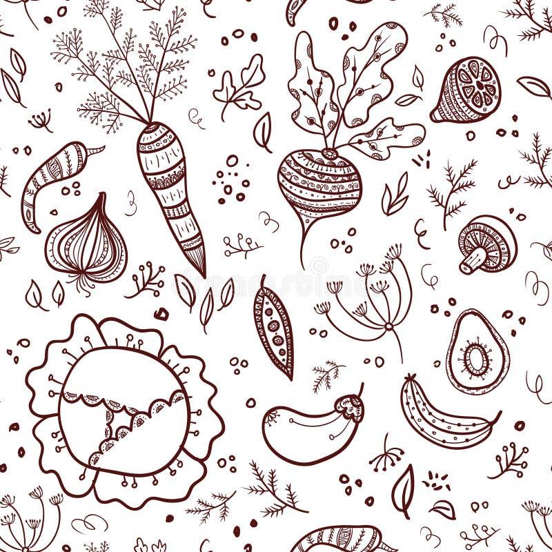 Naadloos patroon met groenten stock illustratie