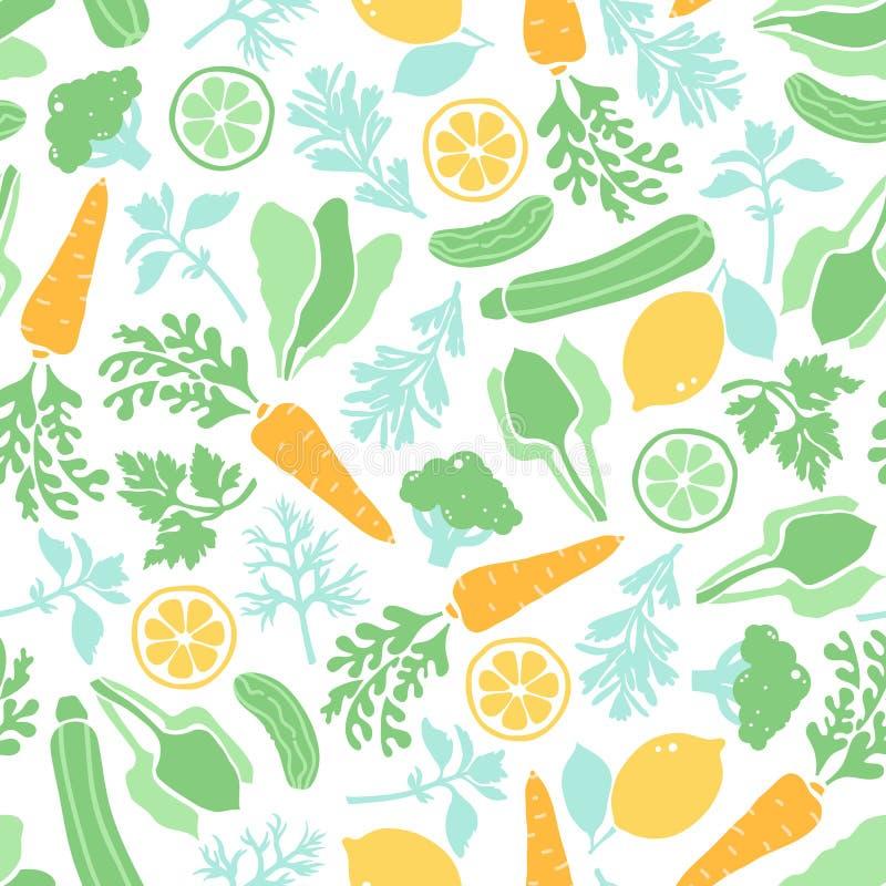 Naadloos patroon met groenten en groen Vegetarisch gezond voedsel Achtergrond voor diverse oppervlakten stock illustratie