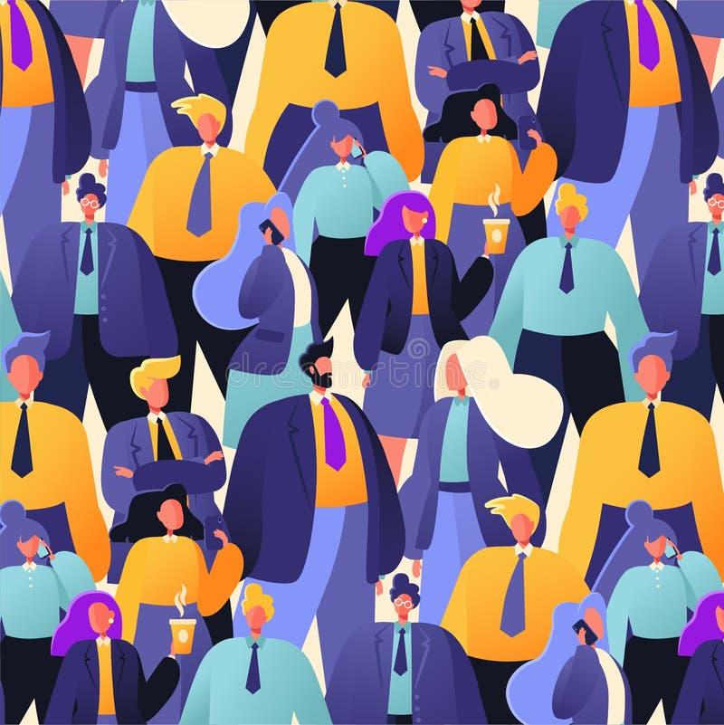 Naadloos patroon met groep bedrijfsmensen, beambten die zich verenigen vector illustratie