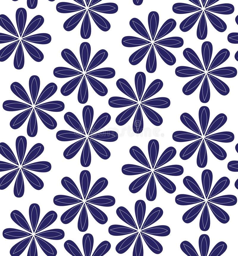 Naadloos patroon met grote bloemen Uitstekende stijl stock illustratie