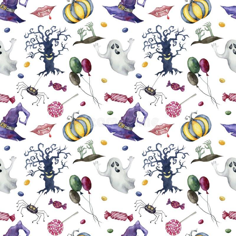 Naadloos patroon met Halloween-karakters op witte achtergrond stock fotografie