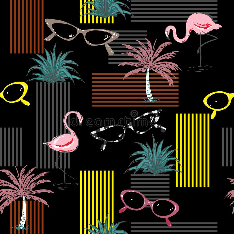 In naadloos patroon met hand-drawn flamingo, gezongen palm, stock illustratie