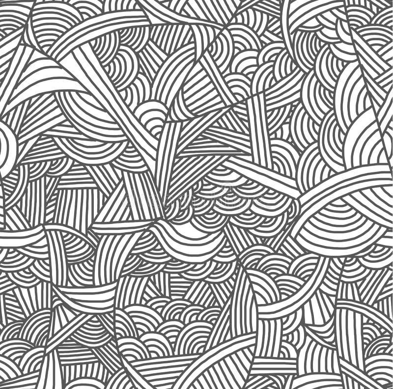 Naadloos patroon met hand-drawn golven royalty-vrije illustratie