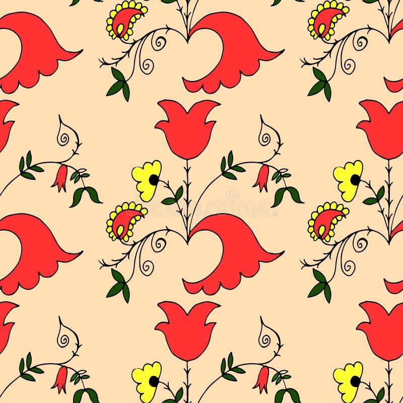 Naadloos patroon met hand-drawn ornament met fantasiebloemen stock illustratie