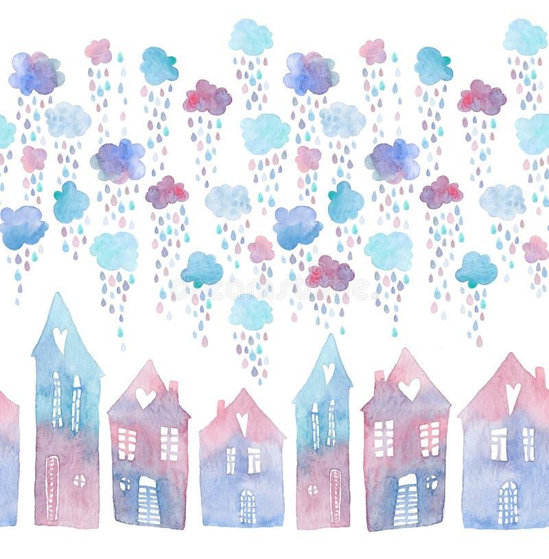 Naadloos patroon met hand geschilderde huizen en wolken met dalende regendruppels Kleurrijke die waterverfillustratie op witte be stock illustratie