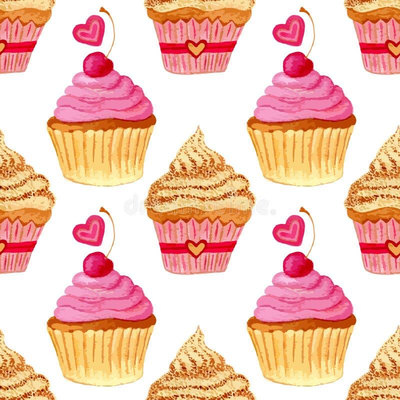 Naadloos patroon met hand geschilderde waterverf cupcakes met harten en zoete kersen Vectorachtergrond met roze kleurrijke cakes vector illustratie