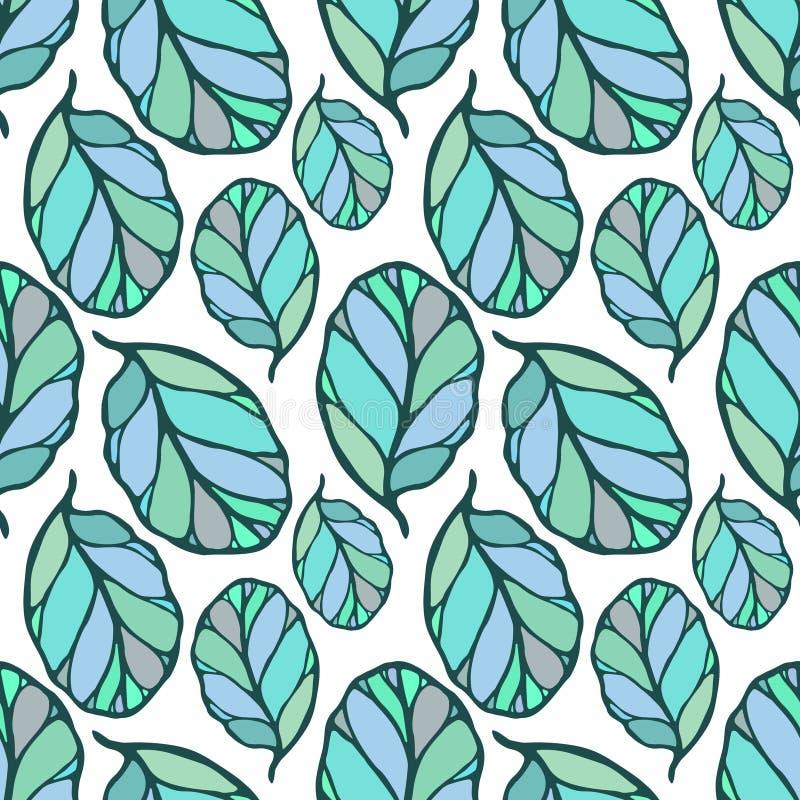 Naadloos patroon met hand getrokken blauwe en groene bladeren op de witte achtergrond Stof, behang, het verpakken De lente, de zo vector illustratie
