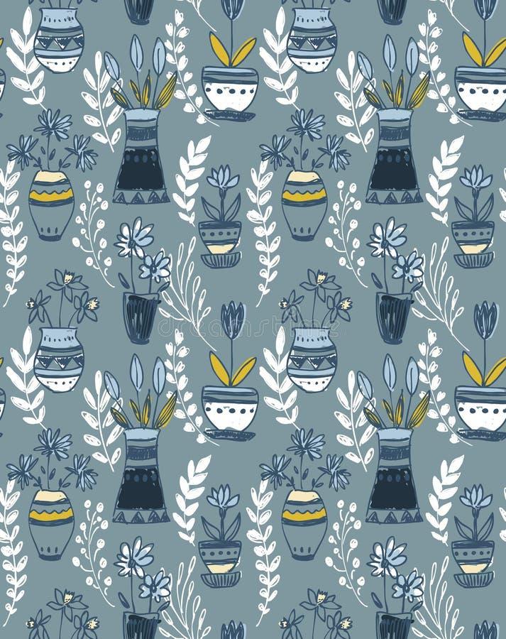 Naadloos patroon met hand getrokken bloemen van de aardmotief en lente elementen, stock illustratie