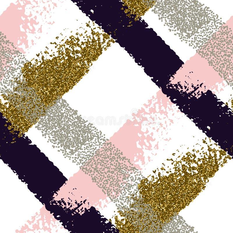 Naadloos patroon met hand getrokken borstelslagen stock illustratie