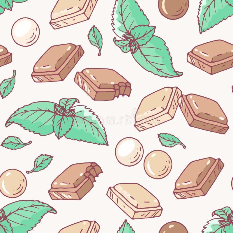 Naadloos patroon met hand getrokken chocolade en muntaroma vector illustratie