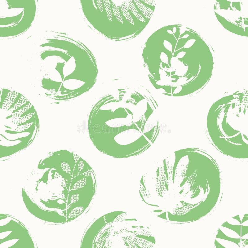 Naadloos patroon met hand getrokken cirkels en bladeren stock illustratie