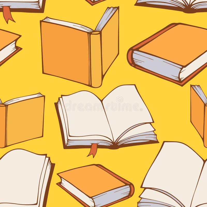 Naadloos patroon met hand getrokken decoratieve boeken vector illustratie