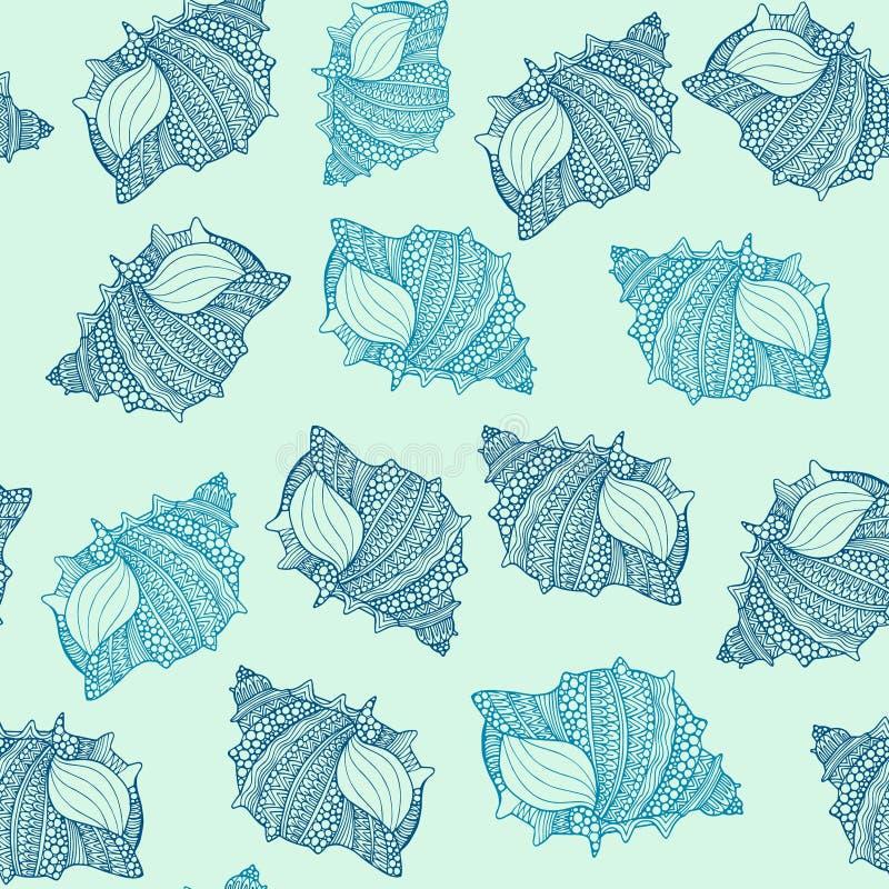 Naadloos patroon met hand getrokken die zeeschelpen met abstracte sierkrabbels worden verfraaid stock illustratie