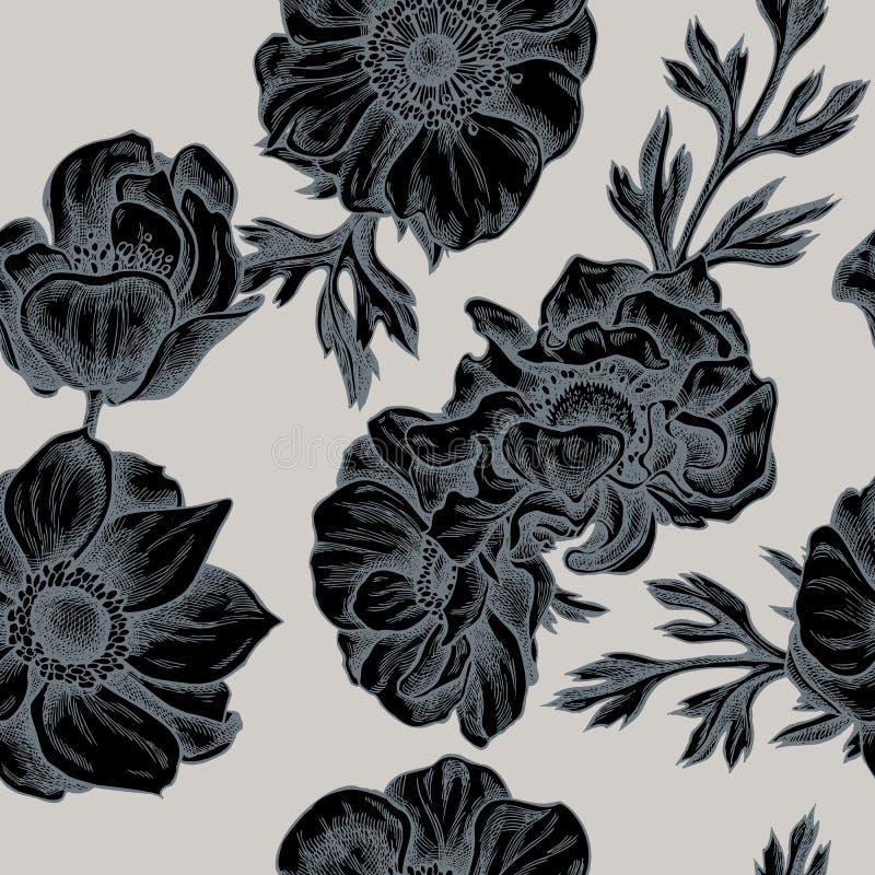 Naadloos patroon met hand getrokken gestileerde anemoon vector illustratie