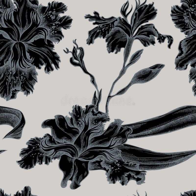 Naadloos patroon met hand getrokken gestileerde irisjaponica royalty-vrije illustratie