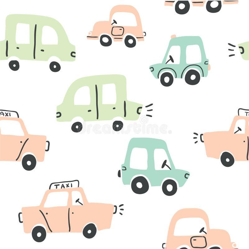 Naadloos patroon met hand getrokken leuke auto's vector illustratie