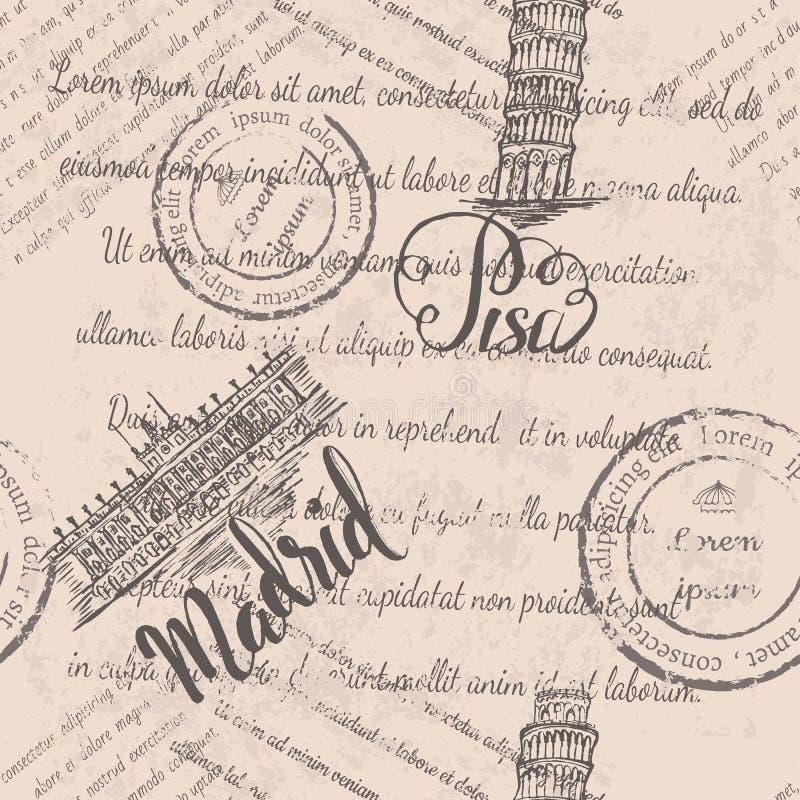 Naadloos patroon met hand getrokken Leunende toren van Pisa, van letters voorziend Pisa, Royal Palace van Madrid, van letters voo royalty-vrije illustratie
