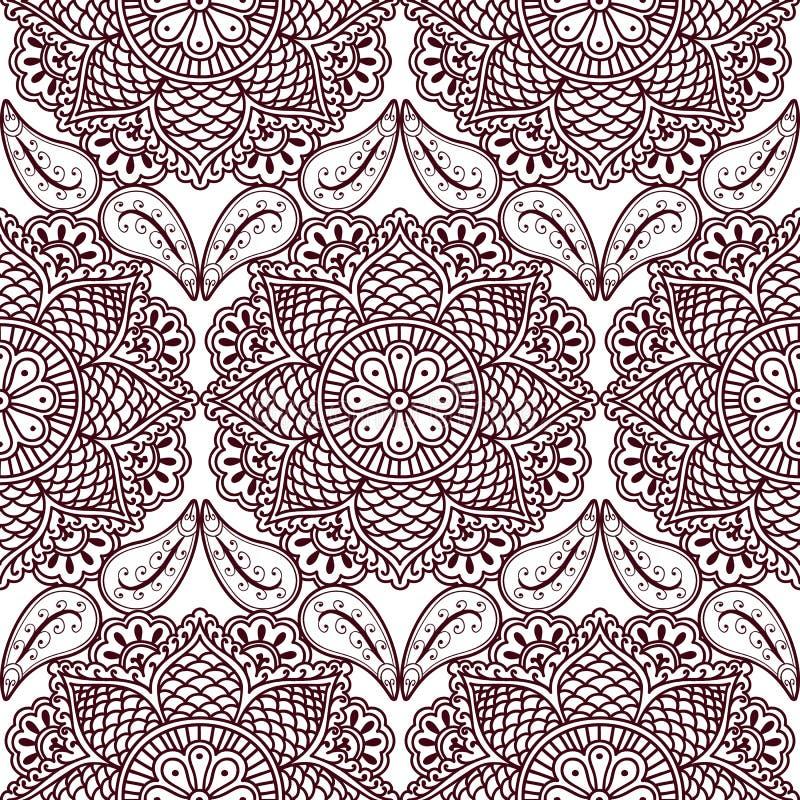 Naadloos patroon met hand getrokken mandala van hennamehndi Het herhalen van achtergrond in oosterse Indische stijl royalty-vrije illustratie