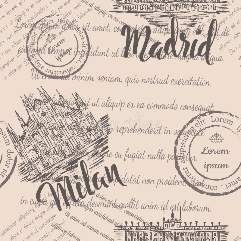 naadloos patroon met hand getrokken Milan Cathedral, van letters voorziend Milaan, hand getrokken Royal Palace van Madrid, van le royalty-vrije illustratie