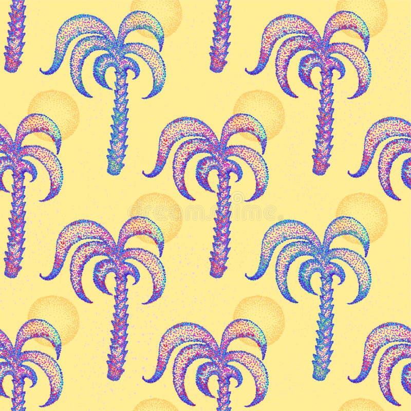 Naadloos patroon met hand getrokken palmen stock illustratie