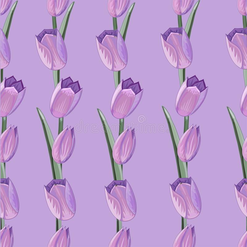 Naadloos patroon met hand getrokken waterverfeffect tulpen royalty-vrije illustratie