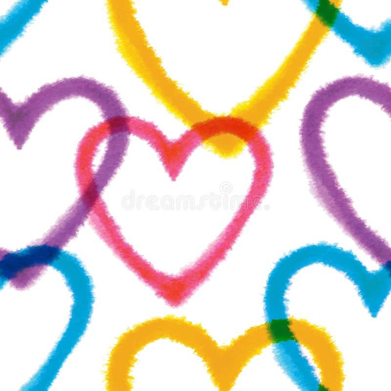Naadloos patroon met hand getrokken waterverfharten royalty-vrije illustratie