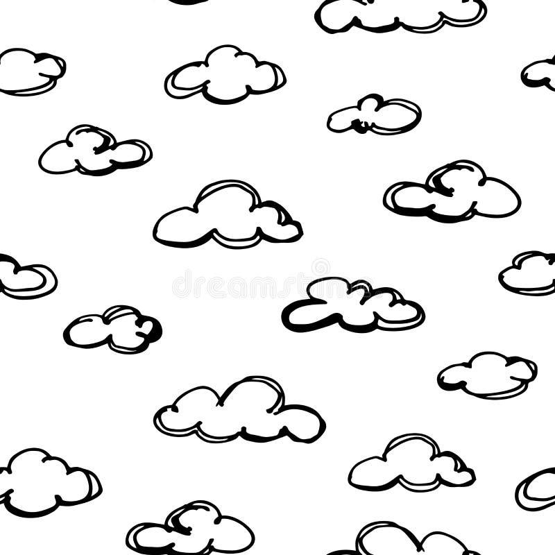Naadloos patroon met hand getrokken wolken Vector stock illustratie