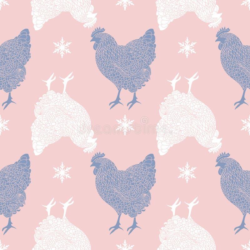 Naadloos patroon met hanen en sneeuwvlokken Zwarte witte silhouetten op roze achtergrond stock illustratie