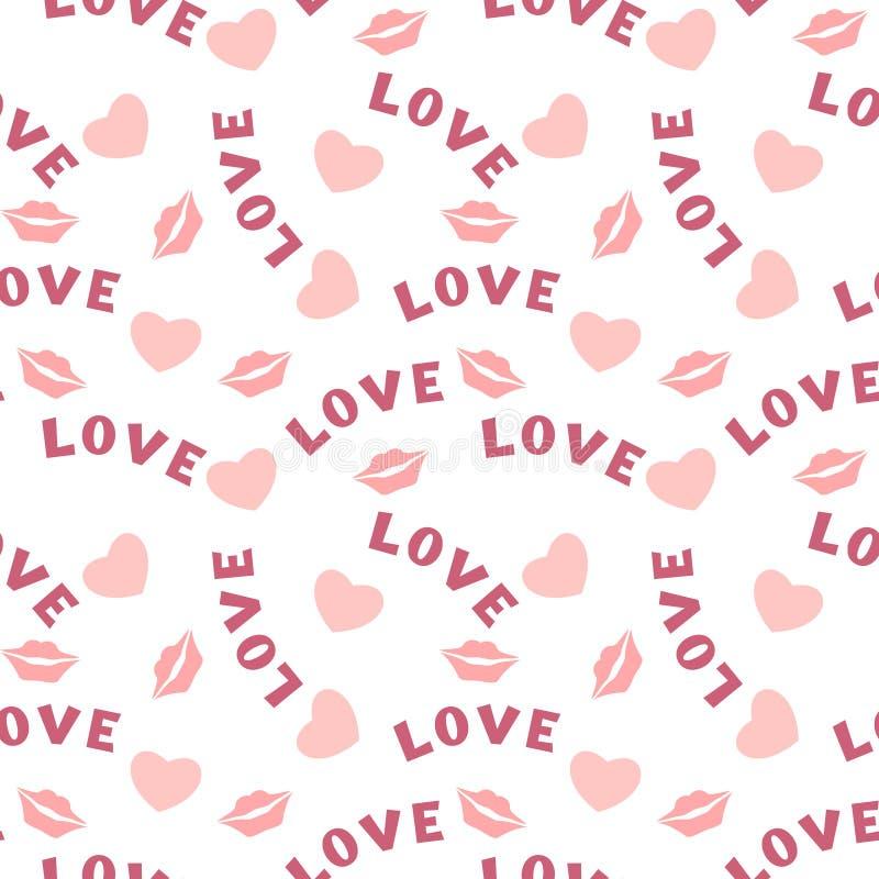 Naadloos patroon met hartenlippen en inschrijvingsliefde op wit stock illustratie