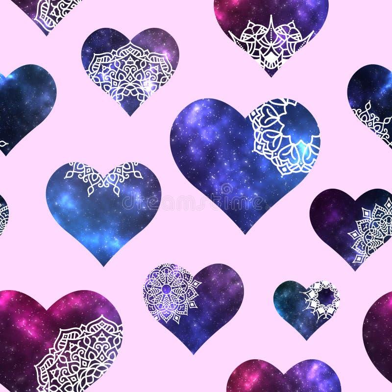 Naadloos patroon met hartenvormen met kosmische binnen textuur en mandala royalty-vrije illustratie