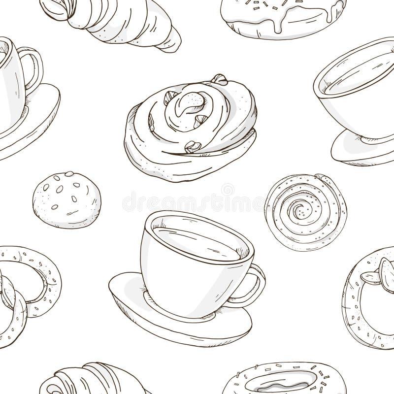 Naadloos patroon met heerlijke zoete gebakjes en een Kop van koffie of thee Modieuze, zwart-witte broodjes, croissants vector illustratie