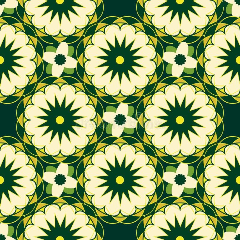 Naadloos-patroon-met-helder-kleurrijk-geometrische vorm, geel-witte bloemen op groen royalty-vrije illustratie