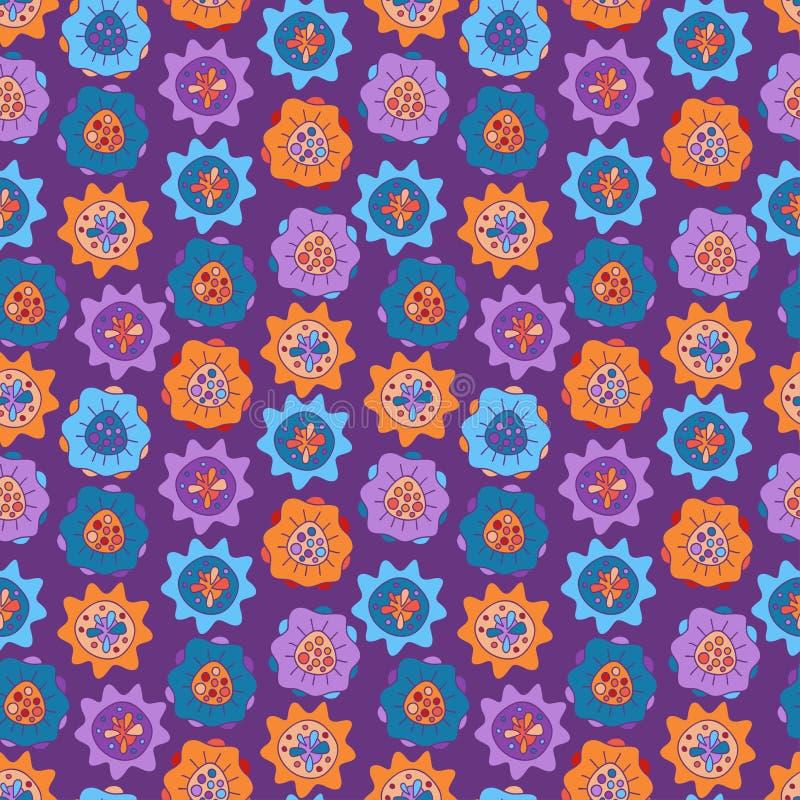 Naadloos patroon met heldere abstracte bloemen stock illustratie