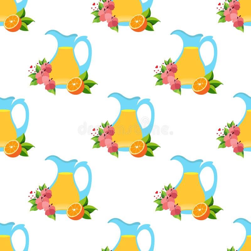 Naadloos patroon met het beeld van waterkruiken met sap vector illustratie