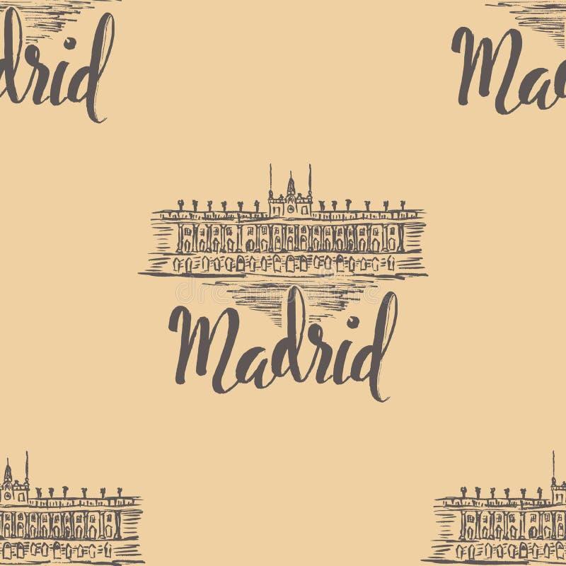 Naadloos patroon met het etiket van Madrid met hand getrokken Royal Palace van Madrid, van letters voorziend Madrid op beige acht royalty-vrije illustratie