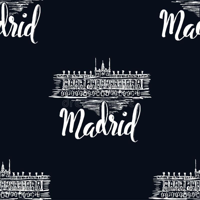 Naadloos patroon met het etiket van Madrid met hand getrokken Royal Palace van Madrid, van letters voorziend Madrid op donkerblau stock illustratie