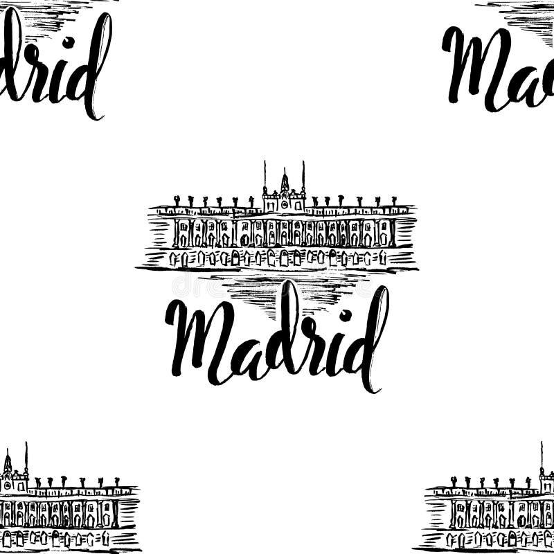 Naadloos patroon met het etiket van Madrid met hand getrokken Royal Palace van Madrid, van letters voorziend Madrid op witte acht vector illustratie