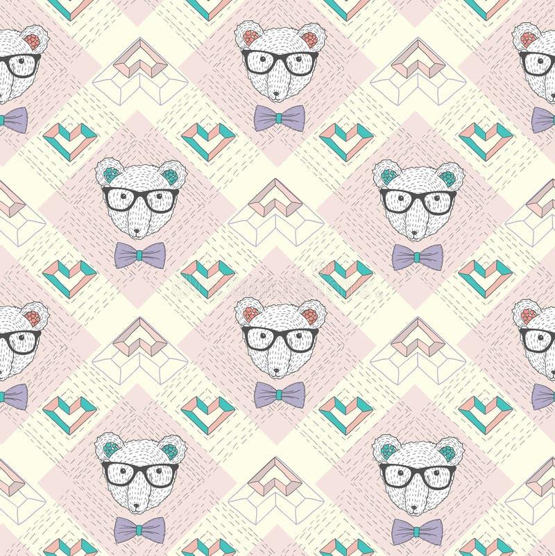 Naadloos patroon met hipster ijsbeer   vector illustratie