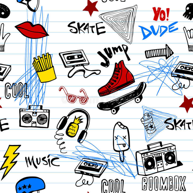 Naadloos patroon met Hipsters-tienerjarenkrabbels stock illustratie