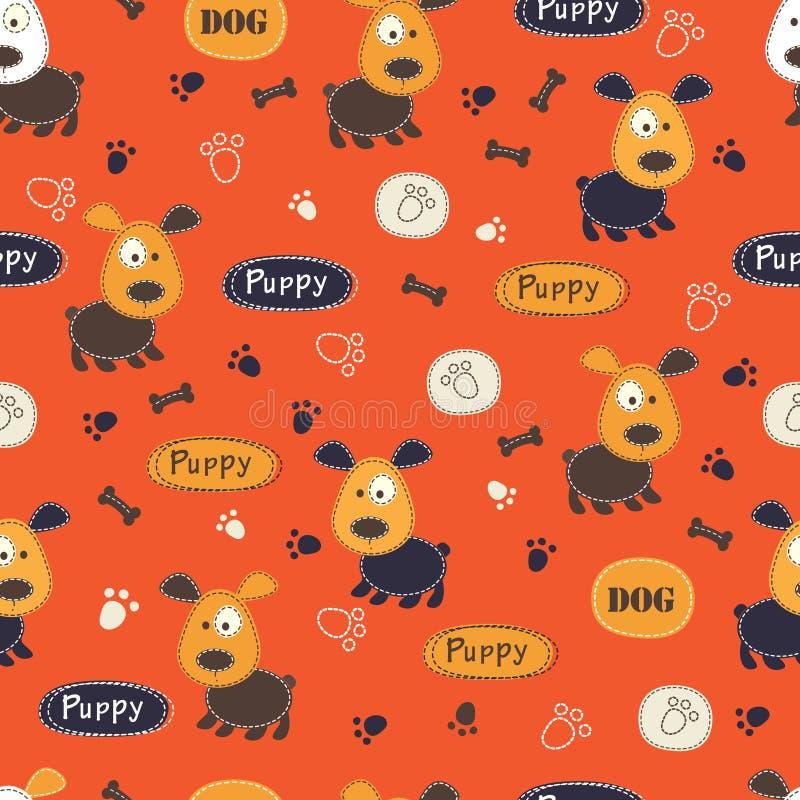 Naadloos patroon met honden, poten, beenderen en het van letters voorzien vector illustratie