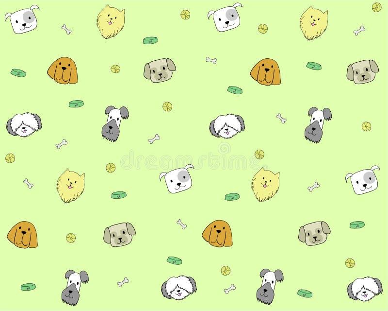 Naadloos patroon met hondhoofden op leuke achtergrond vector illustratie