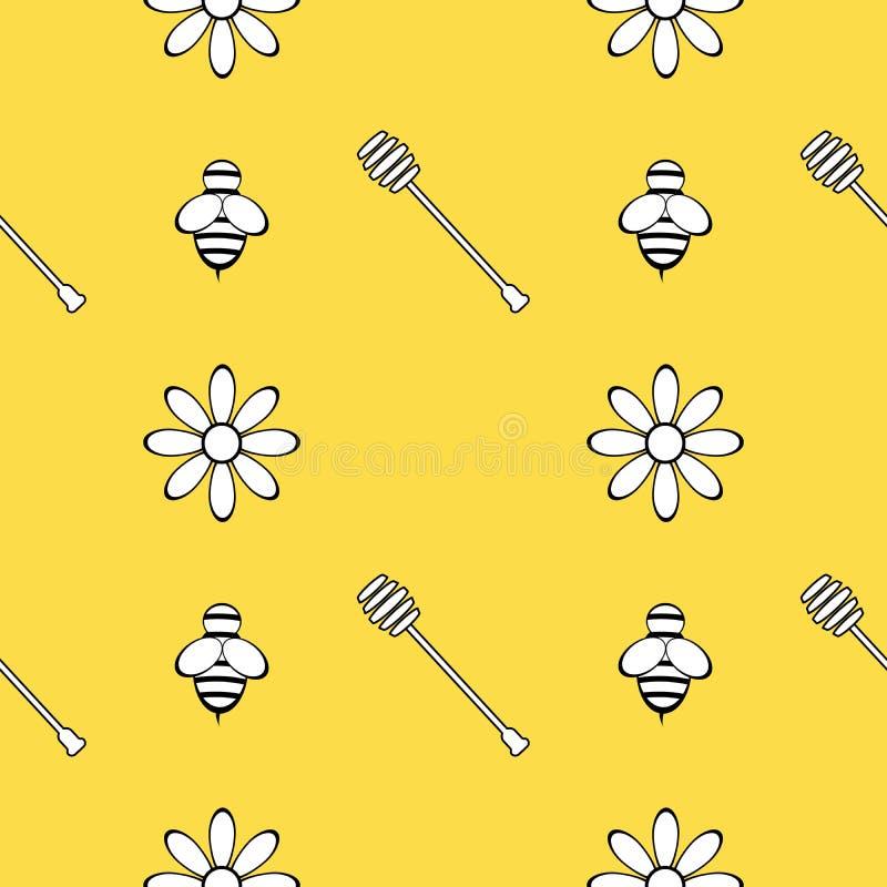 Naadloos patroon met honing, bij en bloemen De elementen van het ontwerp Vector graphhics vector illustratie