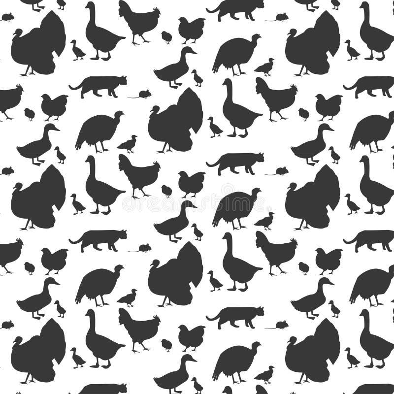 Naadloos patroon met huisdieren en vogels royalty-vrije illustratie