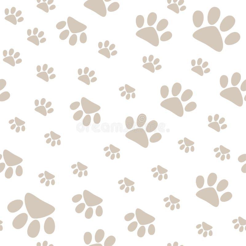 Naadloos patroon met huisdierenpoten die in verschillende kanten, vector lopen vector illustratie