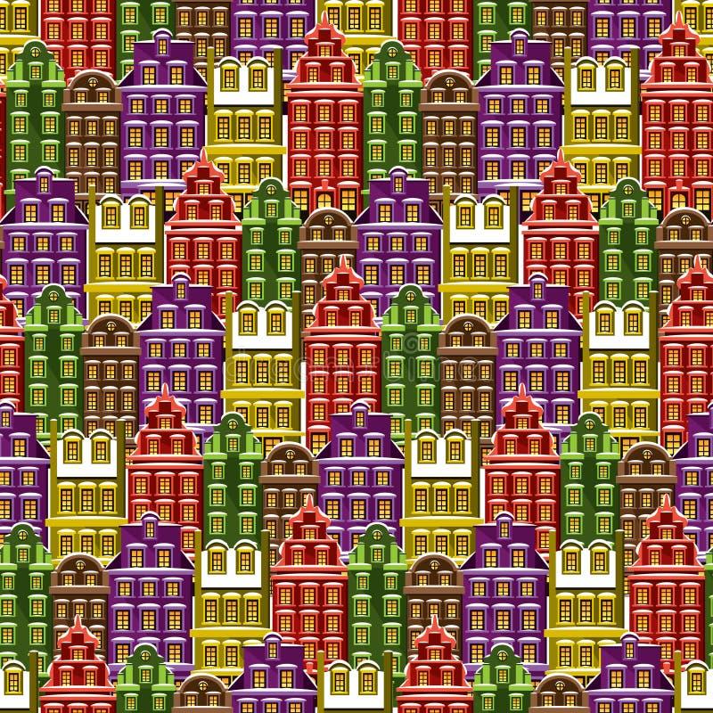 Naadloos patroon met huizen Betegel weinig stadsachtergrond Het verpakken document textuur met veelkleurige gebouwen Geïllustreer stock illustratie