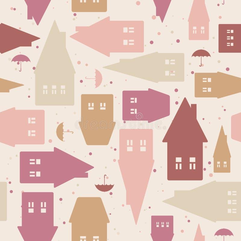 Naadloos patroon met huizen en paraplu's royalty-vrije illustratie