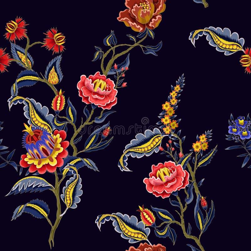 Naadloos patroon met Indische etnische ornamentelementen Volksbloemen en bladeren voor druk of borduurwerk Vector illustratie royalty-vrije illustratie