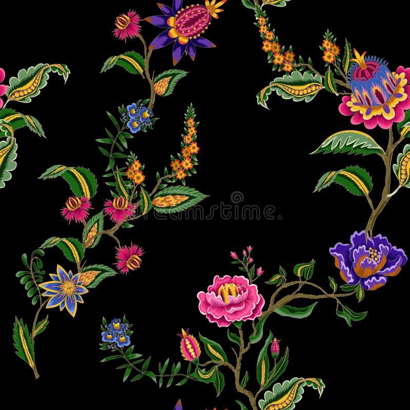 Naadloos patroon met Indische etnische ornamentelementen Volksbloemen en bladeren voor druk of borduurwerk Vector illustratie stock illustratie