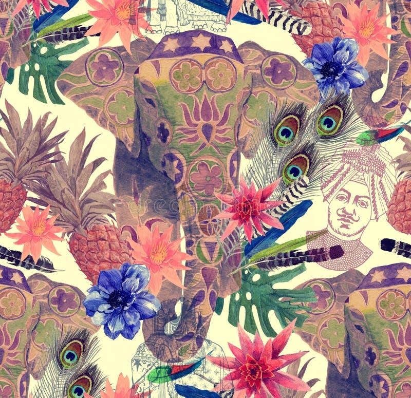 Naadloos patroon met Indische olifant, bloemen, bladeren, veren Hand getrokken illustratie vector illustratie