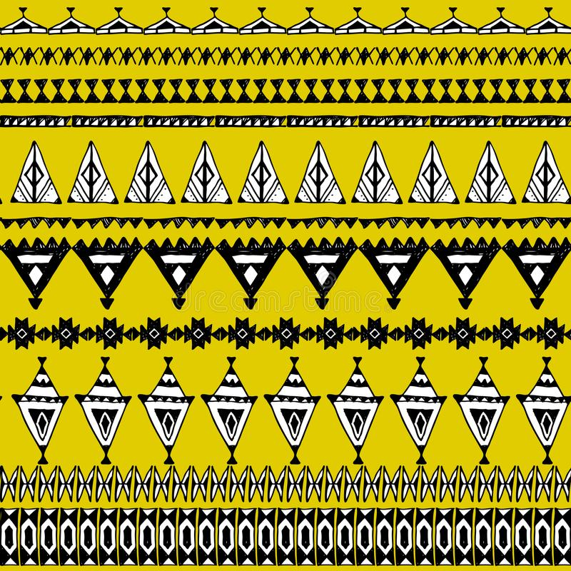 Naadloos patroon met inheemse zigzagornamenten Hand getrokken etnische Azteekse grens Zwarte contour op Gele mosterdachtergrond V vector illustratie